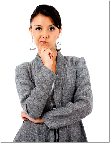 Skeptical Business Woman questioning not believing your claims